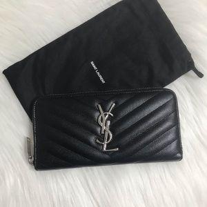 Saint Laurent YSL Monogram Zip Around Wallet